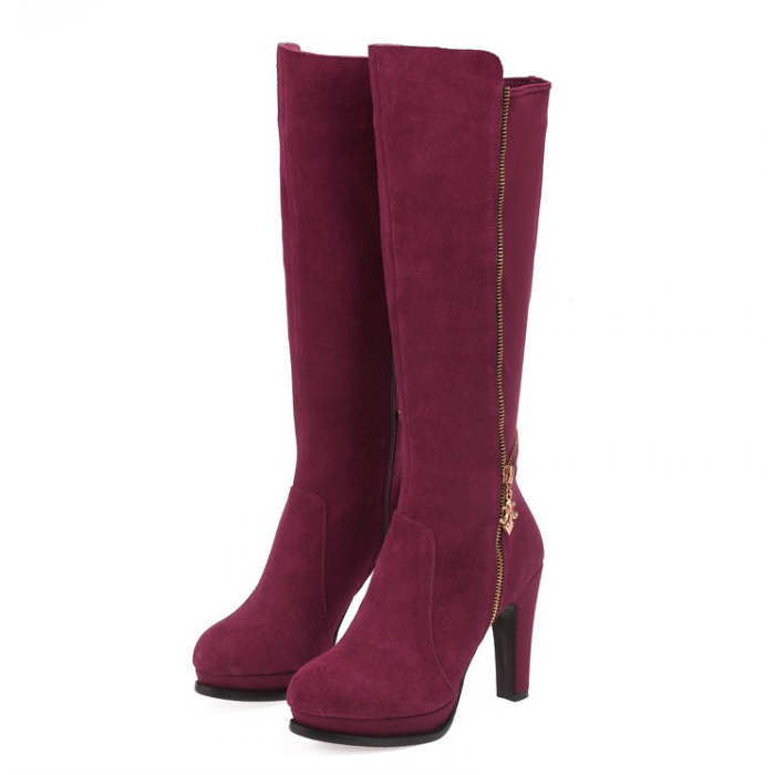 ФОТО 2 Colors Women's Boots 2017 Autumn winter fashion ladies sexy Knee high boots high-leg boots size:34-40 (Black / wine red)