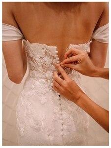 Image 4 - LORIE Elfenbein Prinzessin Hochzeit Kleider Weg Von Der Schulter 2019 Robe de mariee Vintage Spitze Meerjungfrau Brautkleid Elegante Hochzeit Kleid