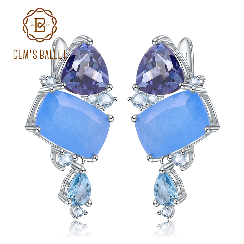 GEM S BALLET 925 Sterling Silver Modern Fashion Irregular Drop Earrings Natural Aqua blue Calcedony Earrings
