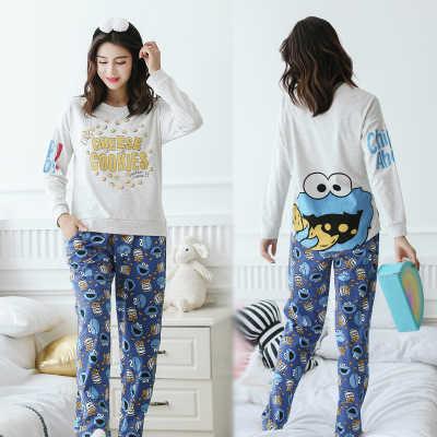 ... Unicorn Pajamas Autumn Winter Women Cotton Pajama Sets Cartoon ELMO Home  Wear Suits Long Sleeves Pajamas ... 1acc31c60