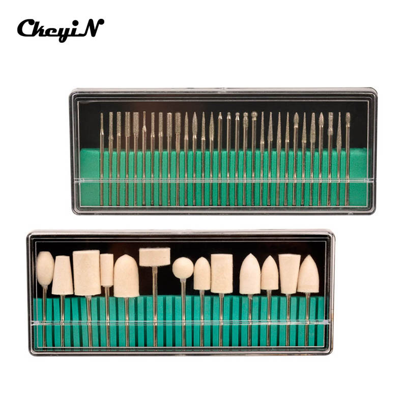CkeyiN Nail Salon Tools Nail Drill Bits Set 3 32 Shank Size For Manicure Pedicure Machine