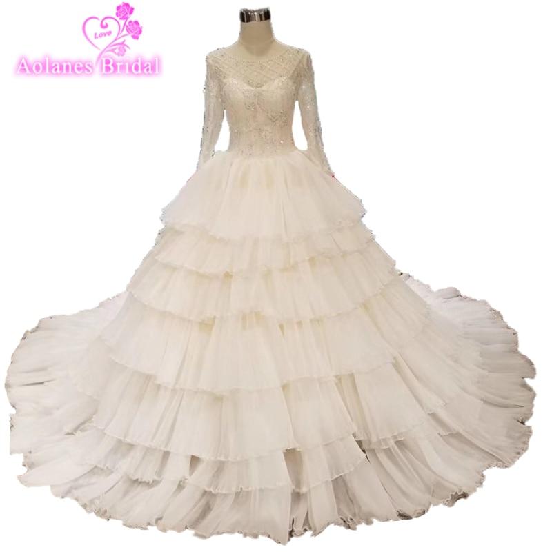 Ruffled Ball Gown Wedding Dress: Luxurious Lace Ball Gown Wedding Dress 2019 Full Layered