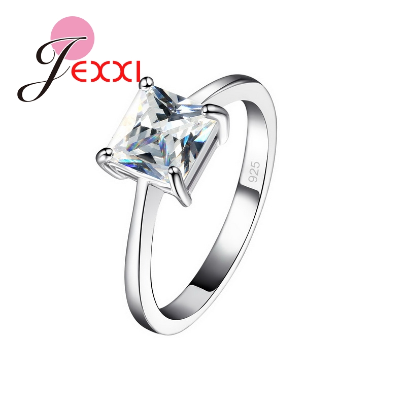JEXXI 925 Sterling Silver Ring With Shinny CZ Crystal Wedding Rings for Women/Girls Fashion Wedding Engagement Love bague