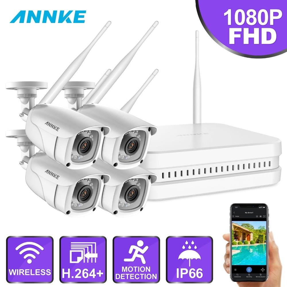 ANNKE 8CH 1080P FHD Wi Fi Wireless NVR CCTV System 4PCS IP Camera WIFI Outdoor Waterproof