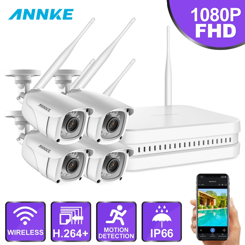 ANNKE 8CH 1080P FHD Wi-Fi Wireless NVR CCTV System 4PCS IP Camera WIFI Outdoor Waterproof CCTV Security Camera Surveillance KitsANNKE 8CH 1080P FHD Wi-Fi Wireless NVR CCTV System 4PCS IP Camera WIFI Outdoor Waterproof CCTV Security Camera Surveillance Kits