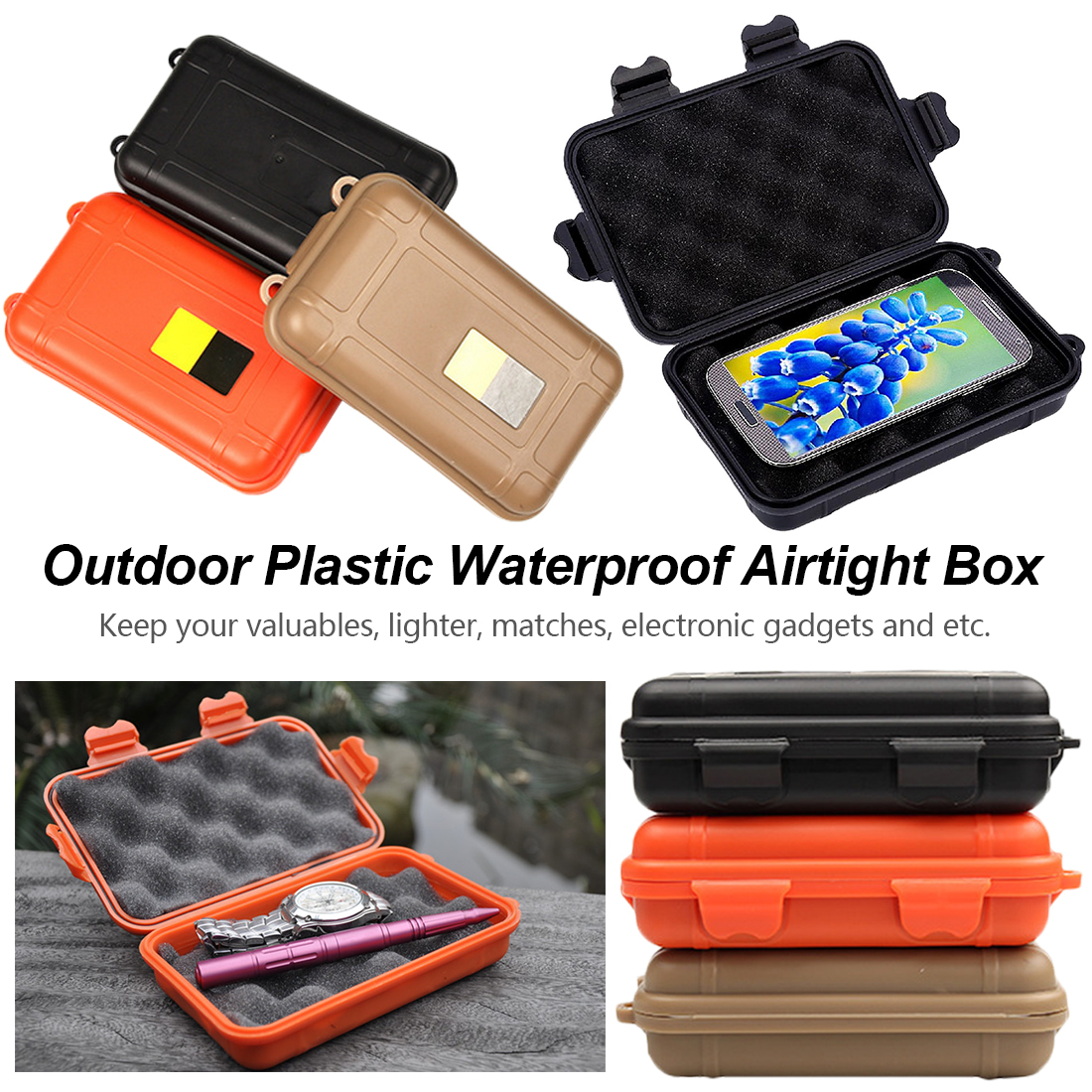 1pcs Waterproof Boxes Tool Box Outdoor Shockproof Box For Storage Tools Travel Sealed Container
