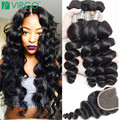 Peruvian Loose Wave Virgin Hair With Closure Mink 8A Peruvian Virgin Wavy Hair 3/4 Bundles With Closure Loose Wave With Closure
