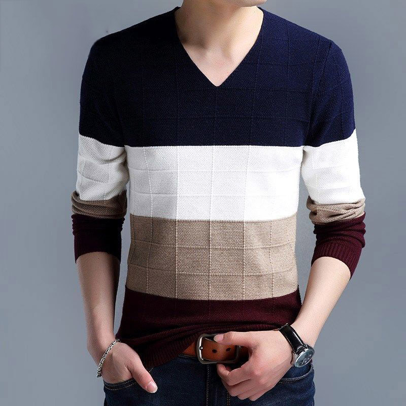 Polyster V Neck Contrast Color Knitted Sweater Homme Autumn Kpop Fashion Casual Harajuku Basic Business Homme Pollover 2019