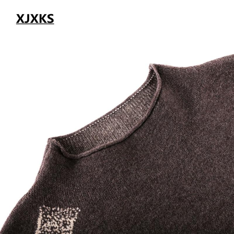 Lâche 2018 bleu Roulé Nouvelle Taille Haute Mode Qualité Tricoter marron Cachemire À Femmes Impression Pull Grande Col Robe Noir Xjxks D'hiver mwyv0N8OPn
