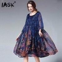 IASK 2018 New Summer Black Round Collar Three Quater Sleeve Stitching Printed Loose Dress Women