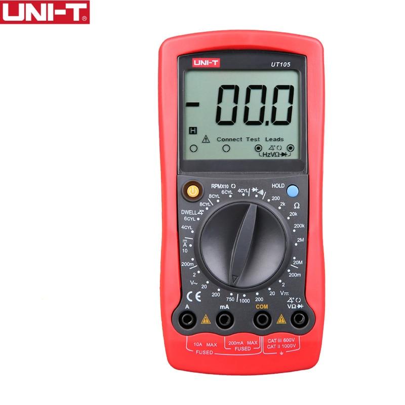 UNI T UT105 Handheld Automotive Multipurpose Meters Manual Range Multimeters Input ProtectionAC DC Diode Test