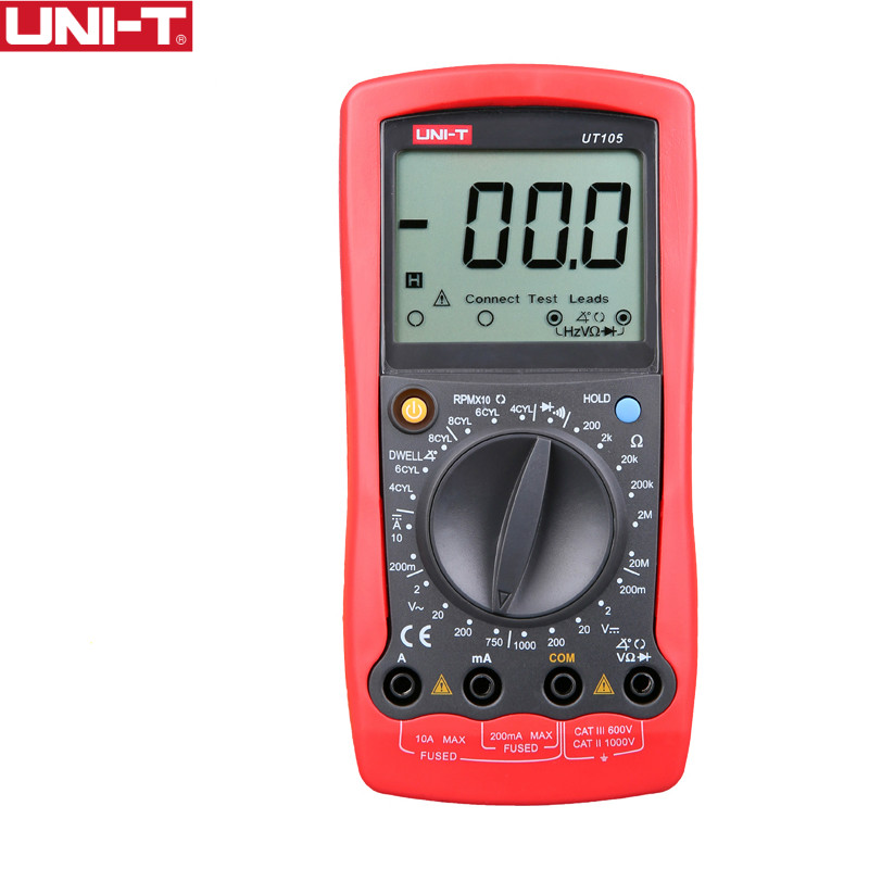 UNI-T <font><b>UT105</b></font> Handheld Automotive Multipurpose Meters Manual Range Multimeters Input ProtectionAC DC Diode Test image
