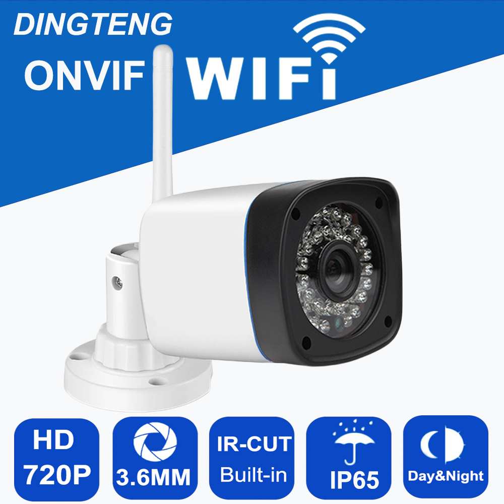 IP WIFI camera HD 720p 1MP Megapixel Onvif Outdoor IP65 Wireless Security CCTV IP Cam IR Infrared SD Card Slot P2P Bullet Kamera outdoor ip camera wifi megapixel 720p hd security cctv ip cam ir infrared sd card slot p2p v380 bullet kamera