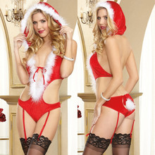 Bodystocking Sexy Lingerie Hot 2016 Christmas Deep V Underwear Women Red Sex Clothes Ropa Sexy Interior Mujer Lenceria HC024