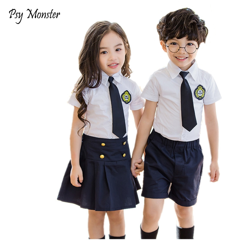 Children Korean Japanese Student Formal Preppy School Uniforms Girls Boys Kids Birthday Shirt Skirt Pants Tie Clothes Suit A29