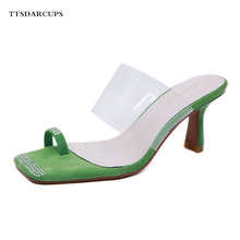 TTSDARCUPS New Type One-Word Buckle Fine-heeled Women Sandals Shoes High-heeled suede open-toed transparent slippers 35-40 code стоимость