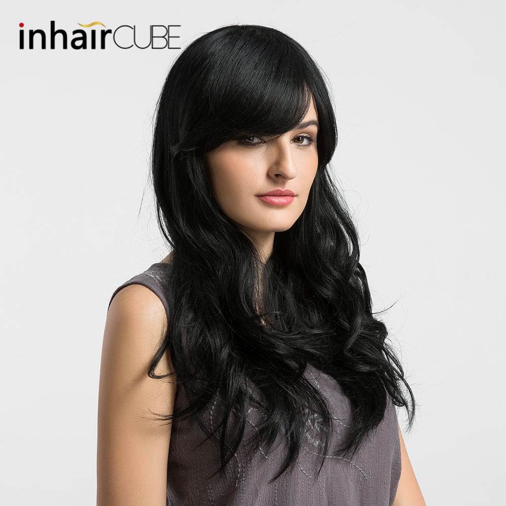ESIN 26 Inch Long Blend Natural Synthetic Hair Wig Long Body Wave Black with Bangs for