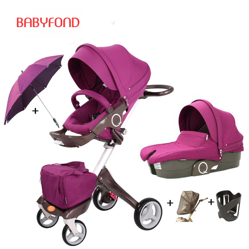 Free ship original Luxury Baby Stroller High Landscape Baby Carriage Portable Folding Prams For Newborns Travel System 2 in 1