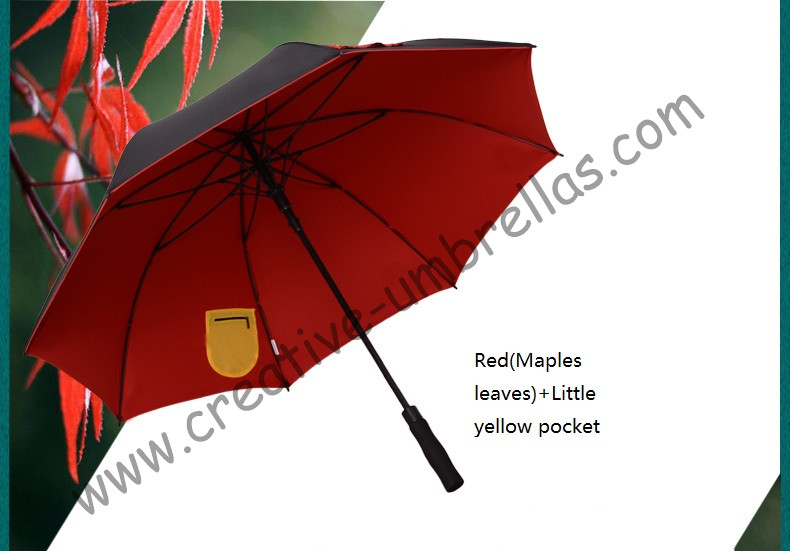 210T pongeee visible double layers fabric golf umbrellas.fiberglass,auto open,anti static,anti-thunder,inner pocket inside panel