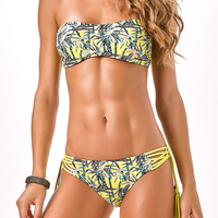 Off Shoulder Sexy Strapless Bikinis Set Padded Women Swimsuit Printed Swimwear Female Bathing Suits Maillot De