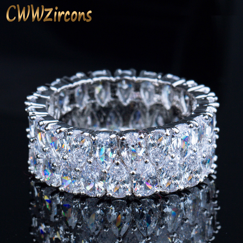 CWWZircons סופר נוצץ כסף צבע מלא מעוקב Zirconia סלול עגול CZ חתונת אירוסין טבעות תכשיטים לנשים R086