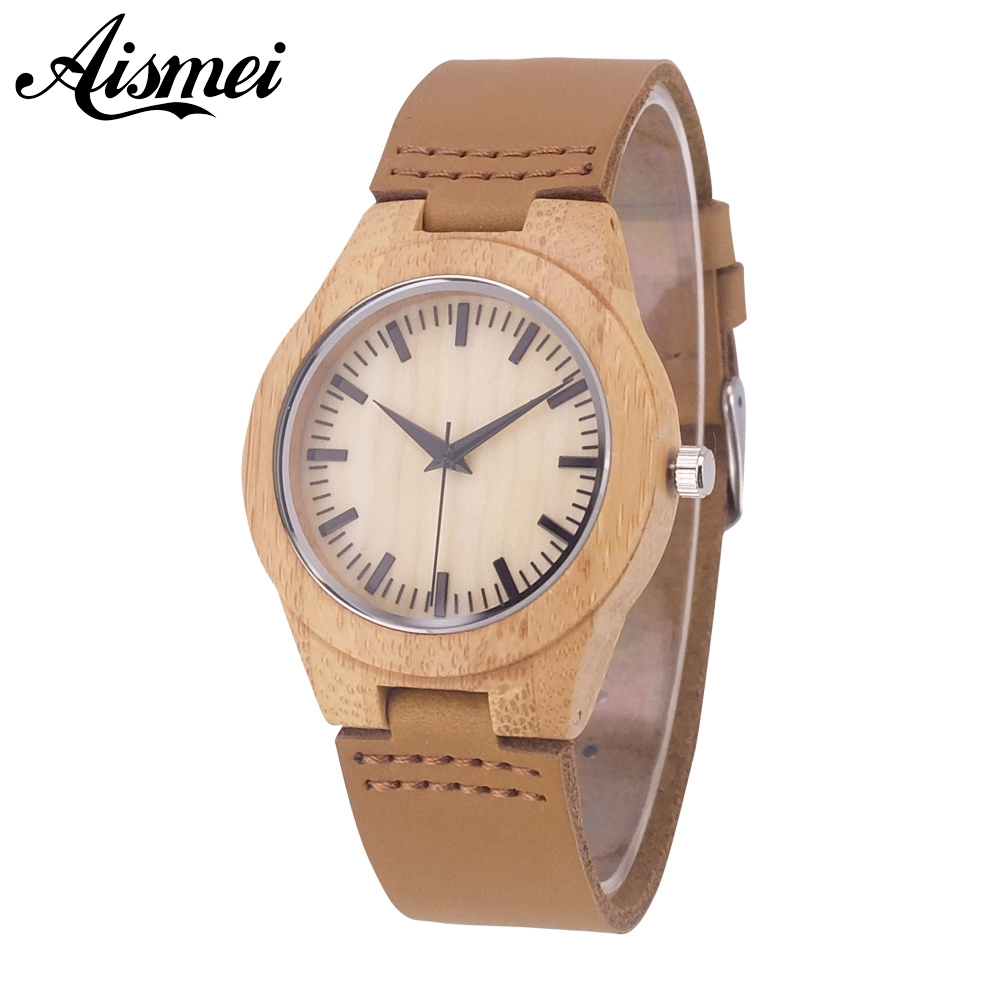 2018 Aismei Women's Wood Watch Bamboo Wooden Wristwatches Female Clock Lady Leather Band Quartz Watch Gift Mujer reloj Feminino rigardu fashion female wrist watch lovers gift leather band alloy case wristwatch women lady quartz watch relogio feminino 25