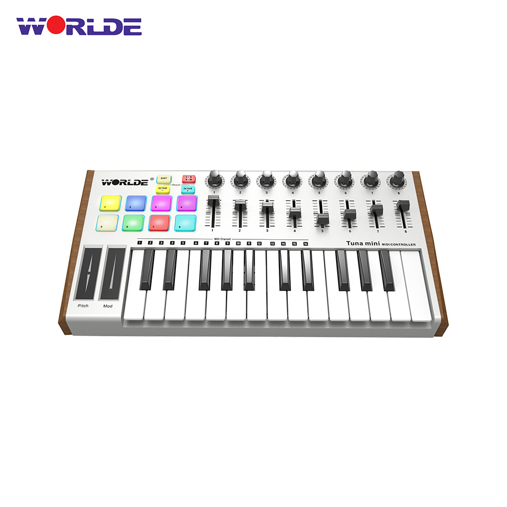 US $62 49 35% OFF|High Quality WORLDE TUNA MINI Ultra Portable 25Key USB  MIDI Keyboard Controller 8 RGB Backlit Trigger Pad with 6 35mm Pedal  Jack-in