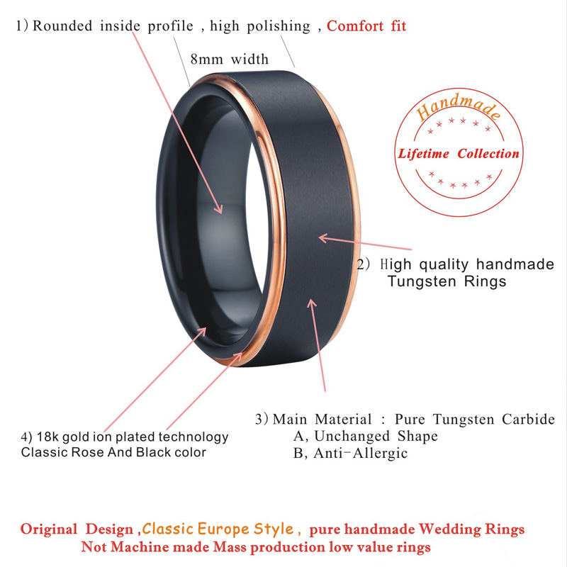 black and rose wedding band tungsten ring men jewelry unique fashion jewellery anillos 8mm 2016 new design PVF125 (6)