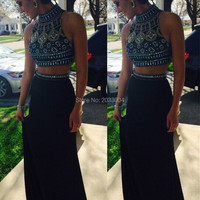 Long Gown Party Dress Black Satin Two Pieces High Neck 2016 Evening Dresses With Crystal