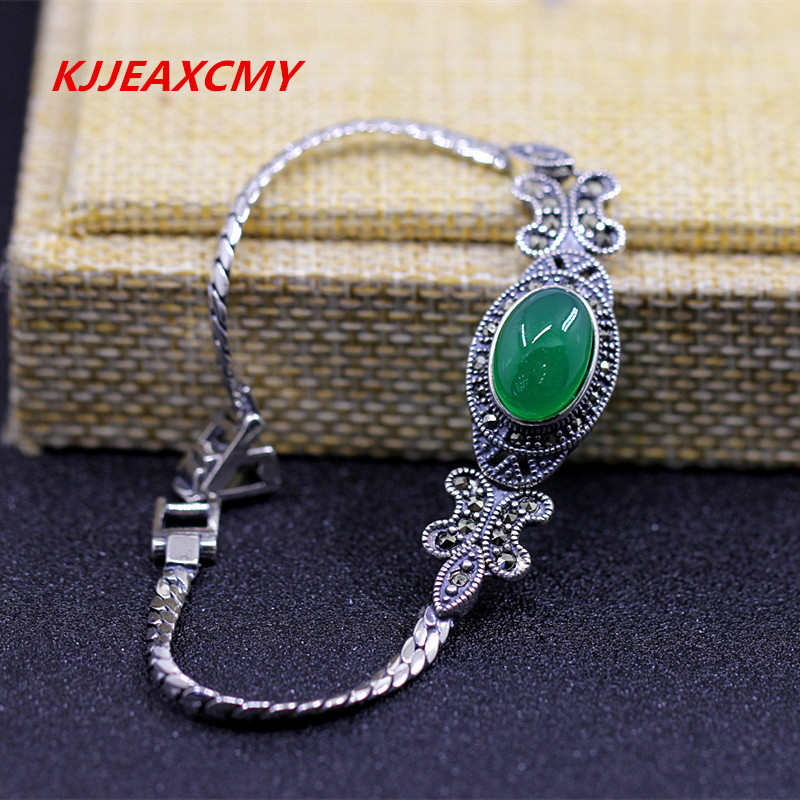 KJJEAXCMY S925 sterling silver jewelry, elegant lady, simple Green Agate Bracelet new original nt20 st121 ec touch screen glass