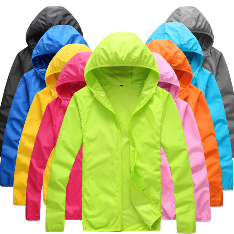 Foldable Quick Dry Outdoor Camping Jackets Summer Windbreaker Waterproof Windproof Sun-protection Thin Hiking Hooded Jacket