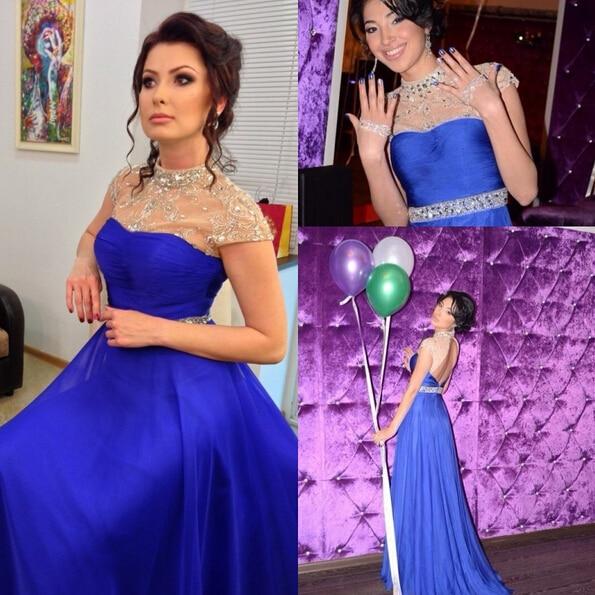 2017 Elegant Bride Wedding Reception Dress High Collar Sheer Cap Sleeve With Crystals Backless Royal Blue