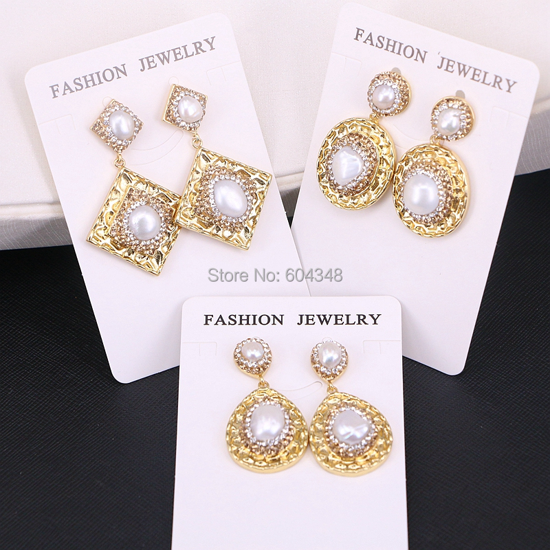 5Pairs Zyunz Amazing Oval / Square / Drop gold earrings pave golden rhinestone crystal pearl dangle earrings jewelry for women