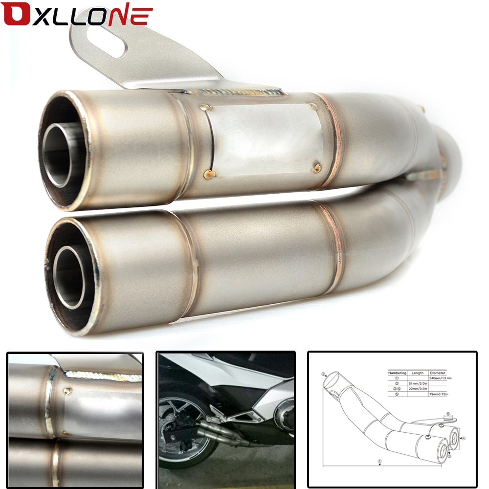 36-51mm Universal Motorcycle Double Exhaust Silencer Pipe Honda CB600F CB 600 F For Hornet CB600F CBR600F CBF600SA CB300F for 36 51mm universal motorcycle exhaust motorbike exhaust pipes bike muffler for honda cb500f cb 500 f cb500 f cb 500f 2