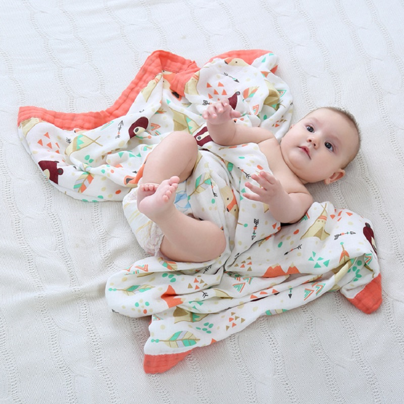 Four Layer 70 Bamboo 30 Cotton Muslin Baby Blanket