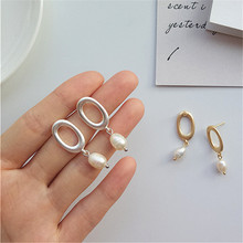 Silver earrings new contracted geometric frosted ellipse The natural pearl Style restoring ancient ways