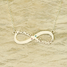 Personalized Valentines Gift Infinity Necklace Two Name Necklace Friendship Gift Birthstone Infinity Name Necklace
