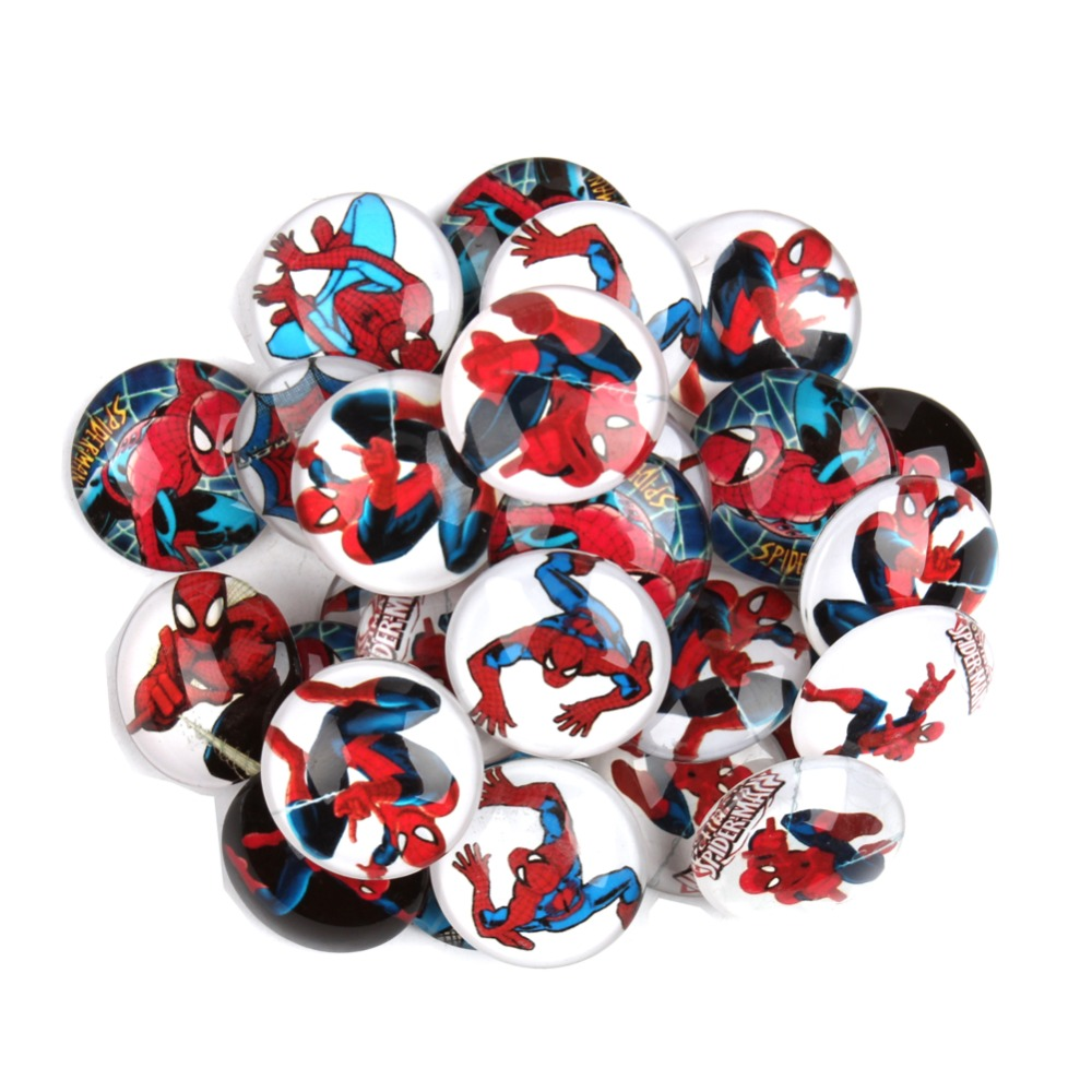 20Pcs 25mm Mixed Cartoon Spiderman Glass Cabochon <font><b>Spider</b></font> <font><b>man</b></font> <font><b>Photo</b></font> Glass Dome DIY Jewelry Craft Findings