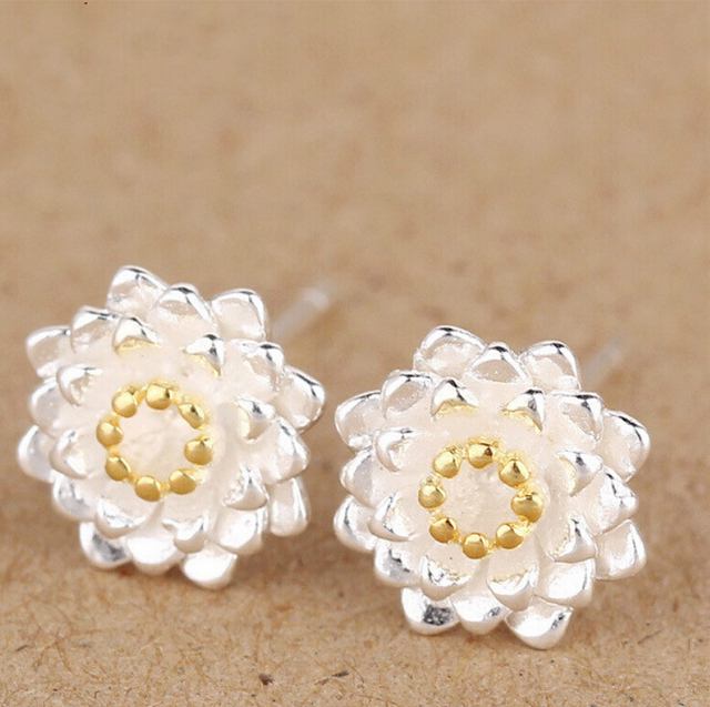 925 Sterling Silver Lotus Flower Earrings Elegant Bud Stud For Women