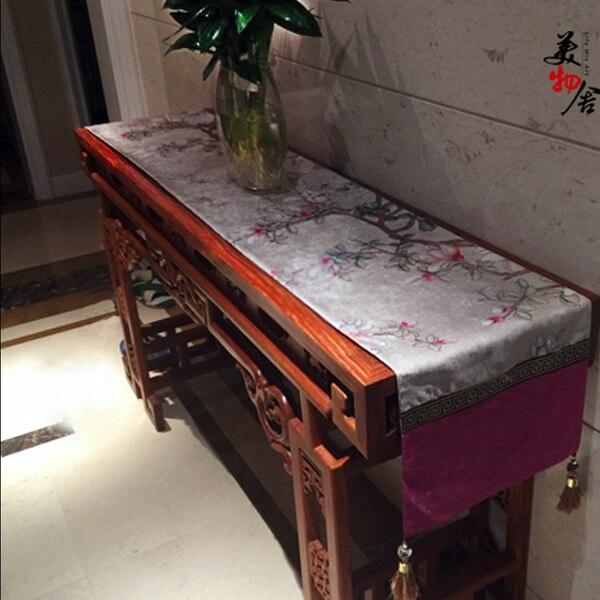 새로운 테이블 러너 천 보라색 유럽 스타일 웨딩 전통 목련 자수 룸 홈 호텔 빌라 장식 식탁보-에서테이블 러너부터 홈 & 가든 의  그룹 1