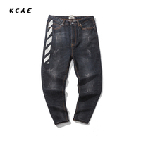 Brand Men Japanese Print Jeans Pants Loose Harem Jeans Rock Mens Hip Hop Small Feet Black