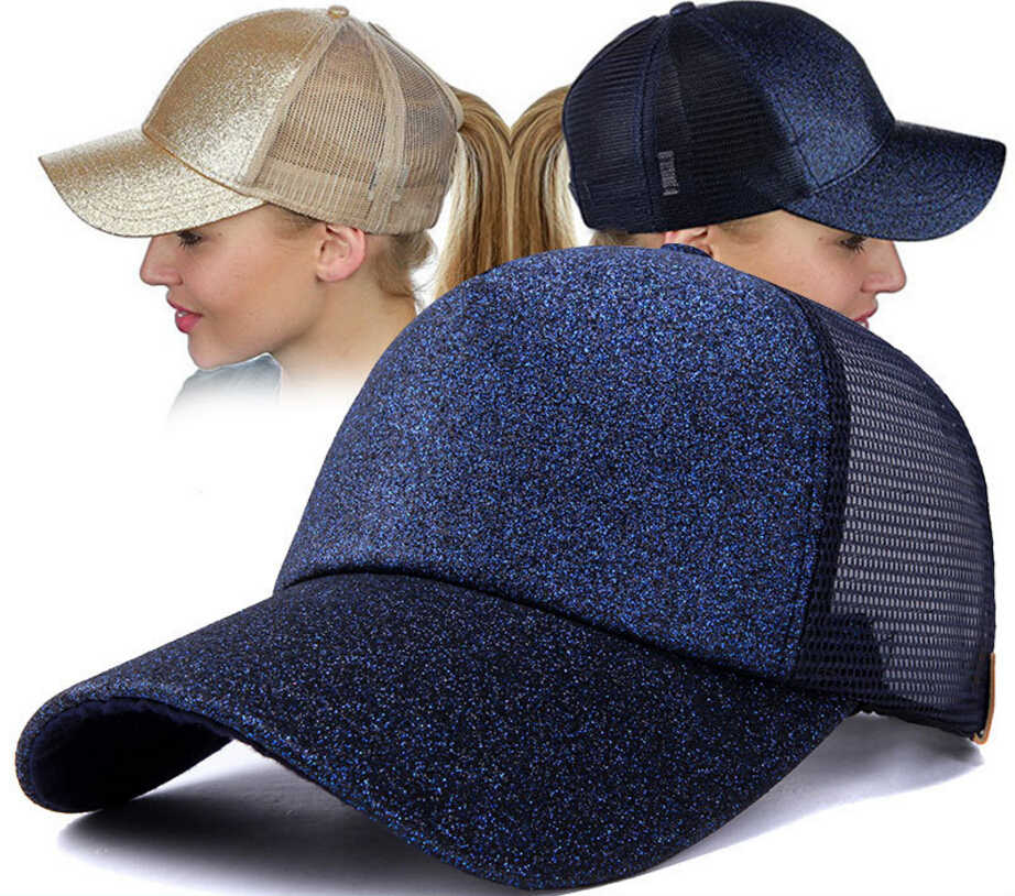 Fashion Women Ponytail Baseball Cap Sequins Shiny Messy Bun Snapback Hat  Sun Cap e61f61e99239