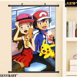 40X60CM Pokemon Pocket Monsters Pokeball Pikachu loli Touko cartoon anime wall picture mural poster cloth scroll canvas painting