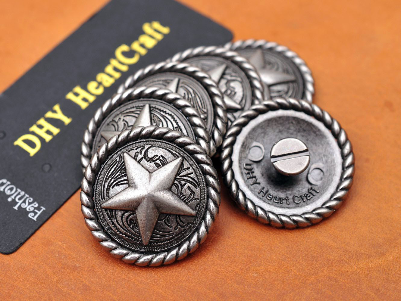 10pcs VINTAGE Silver ROUND ROPE SIDE TEXAS RANGER STAR WESTERN SADDLE LEATHERCRAFT METAL LEATHER CONCHOS 1-1/4