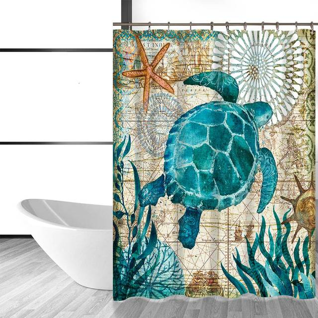 Online Shop Miracille Sea Turtle Waterproof Shower Curtain Octopus ...