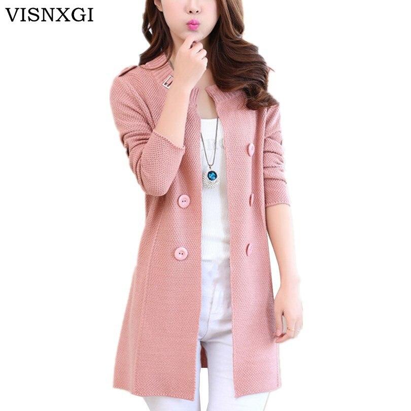 VISNXGI Женский Повседневный длинный вязаный кардиган, осенняя куртка, Модный женский свободный Однотонный свитер на пуговицах, розовая куртк