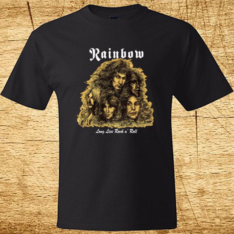 3c650080b New Rainbow Long Live Rock n Roll Metal Band Men's Black T Shirt Size S to  2XL Men Cotton T Shirt Printed T Shirt-in T-Shirts from Men's Clothing on  ...