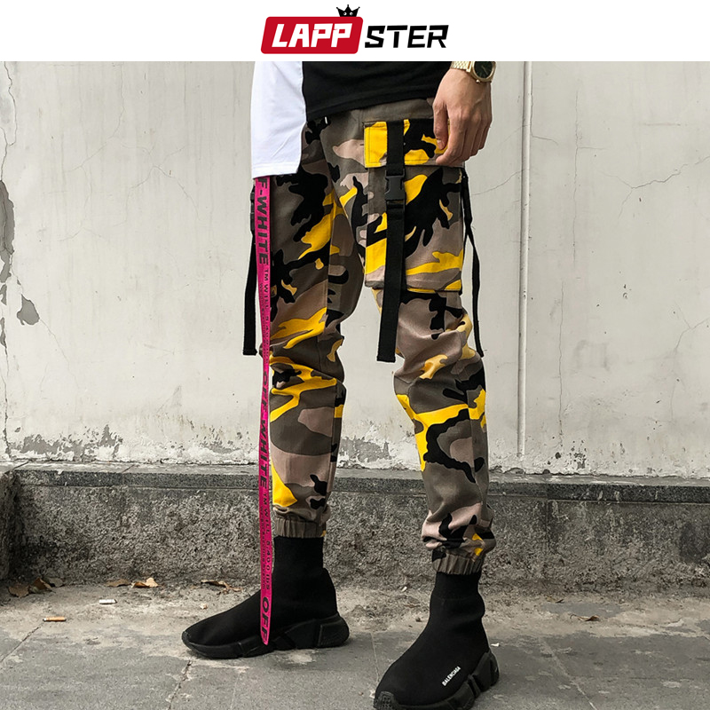 LAPPSTER Ankel Length Camo Pants 2019 Overalls Men Streetwear Hip Hop Cargo Pants Camouflage Hip Hop Joggers Track Pants Orange