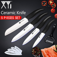XYj Kitchen Knife Tools Accessories Vegetable Slicer Zirconia Ceramic Knife Set 4 5 6 Peeler 6