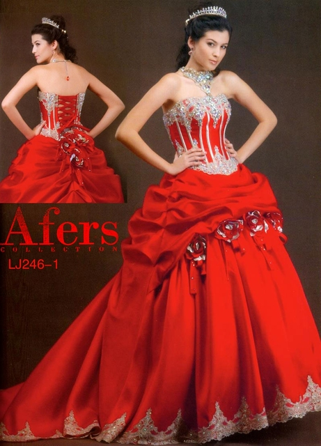 Afers red evening gown, satin material long train dress NO.LJ246-1